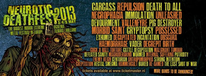 """Neurotic Deathfest 2013 """"Gore, Guts and Blastbeats"""", Tilburg"""