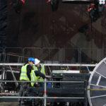 Pressetermin zum Aufbau der Bühne für AC/DC am 14. Juni 2016 in der Esprit Arena in Düsseldorf.