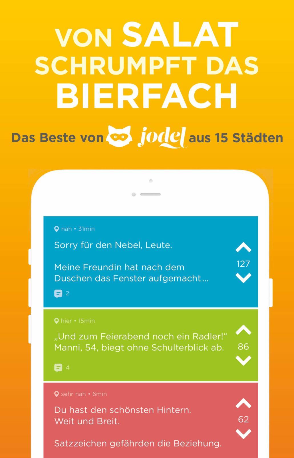 """Buch zur JODEL App: """"Von Salat schrumpft das Bierfach"""""""