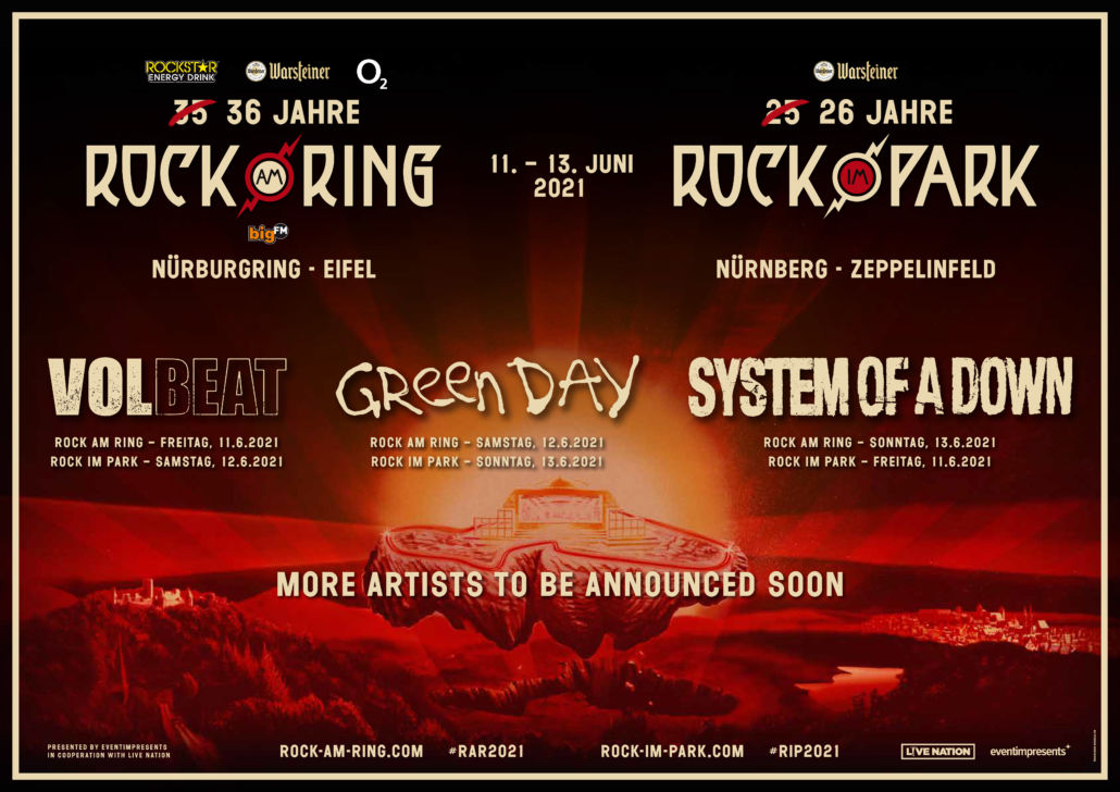 System Of A Down, Green Day und Volbeat bei Ring & Park 2021